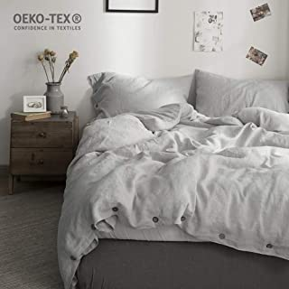 Simple&Opulence 100% Washed Linen Coconut Wood Deduction Solid Bedding Set with 1 Duvet Cover 2 Pillowcase(Grey,Queen)