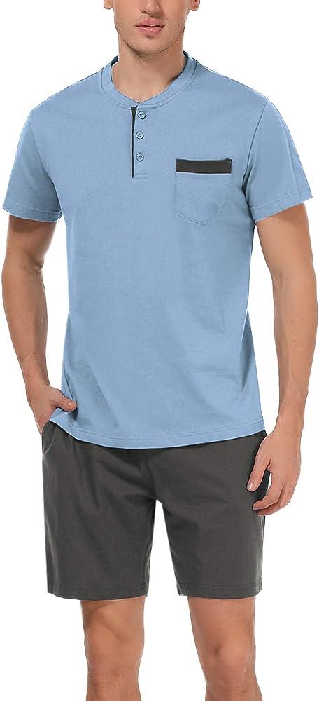 Hawiton, pigiama da uomo estivo, due pezzi,  100% cotone, azzurro