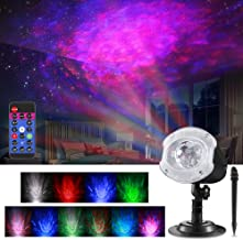 ALOVECO LED Laser Christmas Projector Lights, 2-in-1 RGBW 10 Color Changing Modes Ocean Wave Star Projector Night Light with Remote Control, Outdoor Waterproof Decorative Lighting for Home Game Party