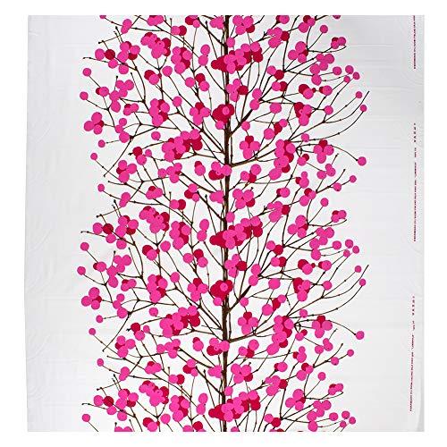 [ マリメッコ ] Marimekko 生地 10cm単位 065175-130 ホワイト/レッド/ピンク/ブラウン ルミマルヤ Lumimarja Cotton Fabric white, red, pink, brown 布 コットン インテリア 北欧 花柄 かわいい [並行輸入品]