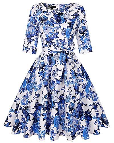 MINTLIMIT 1950S Retro Rockabilly Halbarme Blumenrock Abschlussball Kleid mit Taschen und Gürtel(Blumen Weiß und blau,Größe XXL)