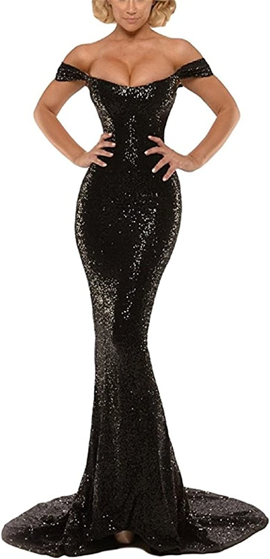 Ellystar Women's Sequins Off The Shoulder Sleeveless Long Mermaid Formal Dresses