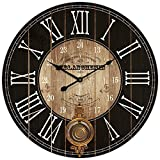 HDC International Round Brown and Black Paris Decorative Wall Clock with Big Roman Numerals and Distressed face 23 x 23 inches Quartz Movement.0116