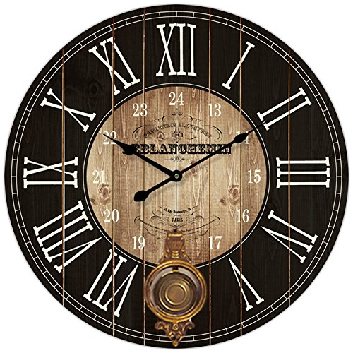 Round Brown and Black Paris Decorative Wall Clock with Big Roman Numerals and Distressed face 23 x 23 inches Quartz Movement..0116
