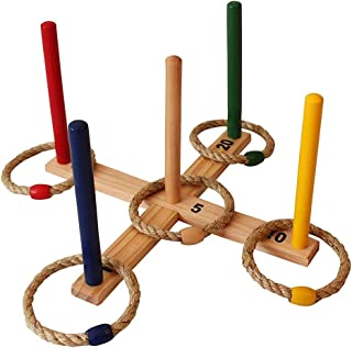 AG Ring Toss Games Indoor - Outdoor Kids Games - Toys Set - Includes 5 Colorful Rope Rings - Fun Family Games for Kids & Adults Backyard, BBQ, Yard Games, Family Reunion, Pool Party
