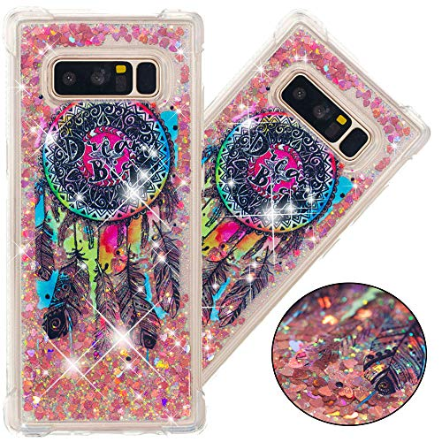 EMAXELER Galaxy Note 8 Case Galaxy Note 8 Cover 3D Creative Design Cartoon Pattern Anti-Fall Flowing Quicksand Bling Shiny Liquid TPU Soft Case for Samsung Galaxy Note 8 TPU Color Dream Catcher