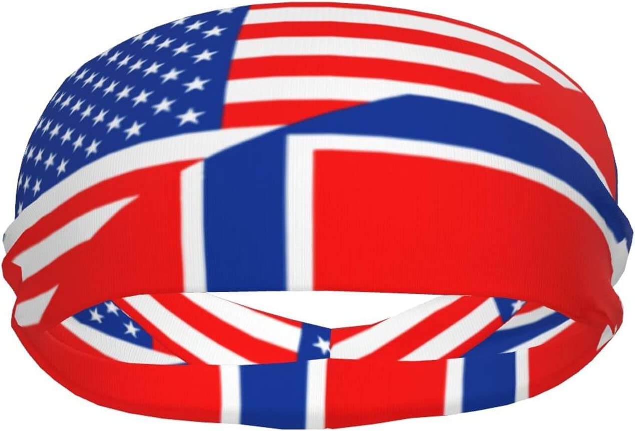 Ldmsl Norway Flag and America Safety trust discount Athletic Elastic Unisex Sweatbands