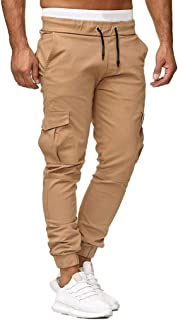 Allywit Men Sweatpants Slacks Casual Elastic Fitness Training Joggers Sport Solid Baggy with Pockets Trousers