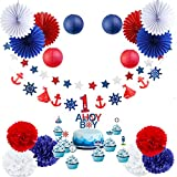 Maritime Party Dekoration Set Lieferumfang: 6 Stk. 25cm Pompoms in rot, dunkelblau und weiß, 6 Stk. 25cm Papierrosetten in navy, rot und weiß, 4 Stk. 10cm Papier Lampions in dunkelblau und rot, Stern Girlande in rot, blau und weiß, Maritime Torte Top...