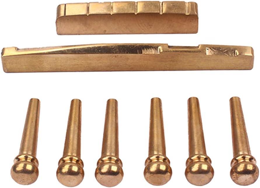 YIJU Golden 6x Brass Bridge Pins + Saddle Acoustic F wholesale shipfree Set for Nut