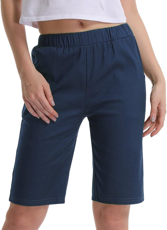Gooket Women's Casual Elastic Waist KneeLength Bermuda Shorts