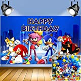 Sonic Hedgehog Happy Birthday Themed Photo Backdrops 5x3ft Baby Shower Supplies Boys and Girl 1st Birthday Party Photography Background Kid Party Banner Cake Candy Table Decoration Vinyl