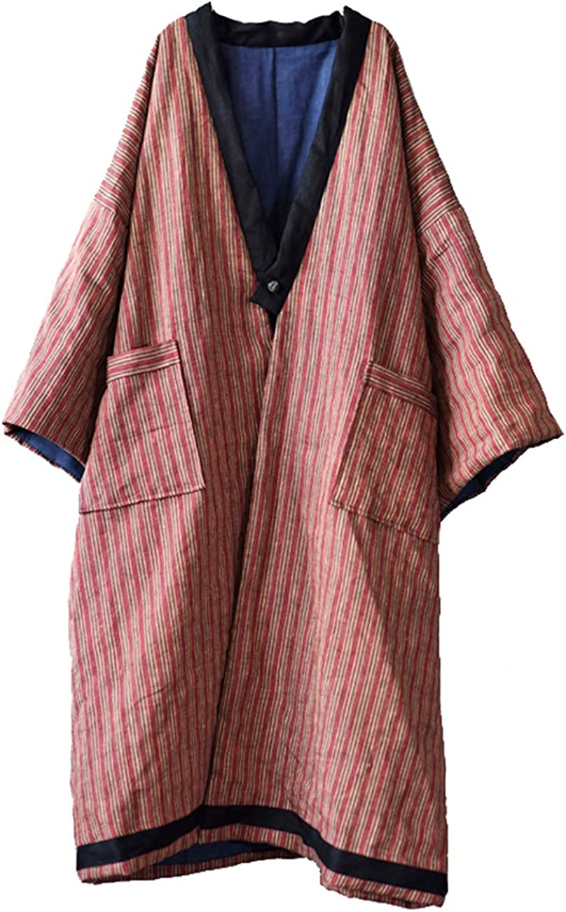 NFYM Artsy Women Autumn Winter Long Linen Stripe Quilted Jacket Outwear Plus Size Lightweight Trench Coat Long Robe