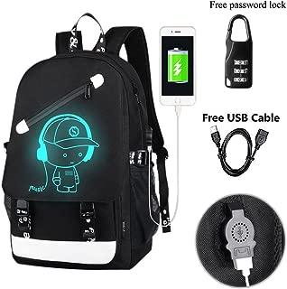 A-MORE Anime Luminous Backpack Noctilucent School Bags Daypack USB chargeing port Laptop Bag Handbag For Boys Girls Men Women (Music boy 2)