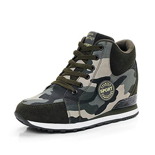 XXHC Womens Camouflage High-Heeled Sneakers Army Green Height Increase Shoes