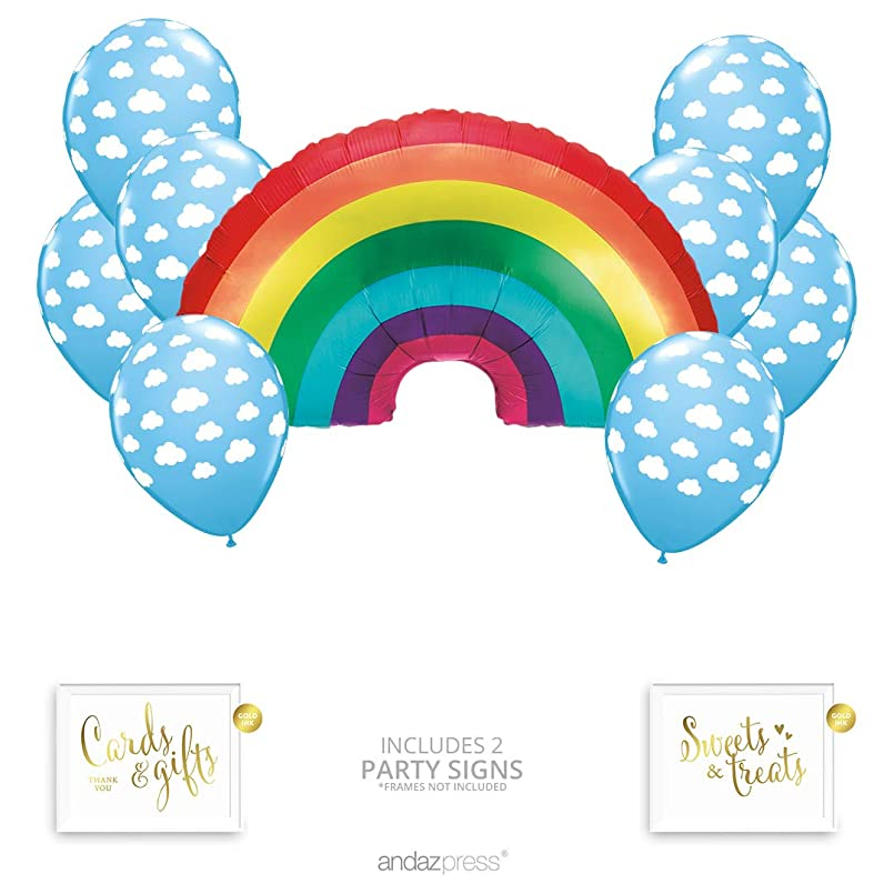 Andaz Press Rainbow Cloud Party Balloon Bouquet Set, Rainbow Baby Shower Party Supplies, Inflatable Foil Mylar Rainbow and Cloud Latex Balloons, Bulk Balloon Kits for Rainbow Birthday Party Decoration ftebztjq0