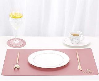 GUBEE Set de table,2 sets de table et dessous de table en cuir PU, de café lavables antidérapants, sets de table de cuisin...