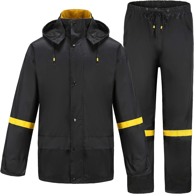 Ourcan Rain Suits for Men Classic Rain Gear Waterproof Rain Coats Hooded Man's Rainwear Fishing Rain Jacket and Rain Pants