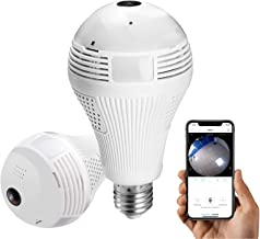 Light Bulb Camera, Dome Camera Include 16GB Card 1080P 360 Degree Wireless Security, for Home, Office, Baby, Pet