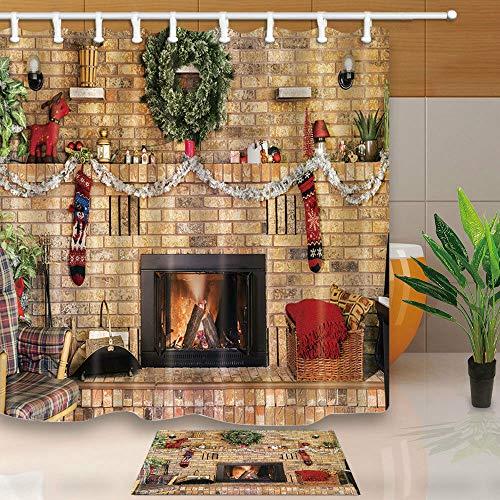 taquxinlaowan Weihnachtsstrümpfe und gemauerter Kamin Duschvorhang Badezimmer Stoff & 12 Haken