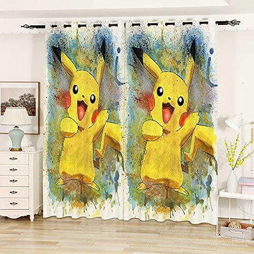 Lot de 2 Rideau Isolant Thermique et Phonique Rideaux Occultants Pokémon Jaune Rideau à Oeillet pour Enfant Rideaux Chambre 110 × 215 CM × 2 Panneau