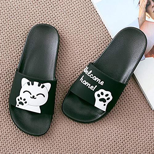 ypyrhh Sandalias De Ducha de Casa,Soft Bottom Anti-Slip Slippers, Couple-Black and White 5_36-37,Sandalias de Punta Descubierta Unisex niños
