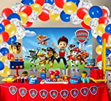 Paw Patrol Birthday Party Supplies Decorations, Happy Birthday Backdrop 3 x 5 Ft Dog Banner and 60 Pcs Balloons Garland Photography Background Photo Booth for Bedroom, Game Gifts for Boys Girls Kids