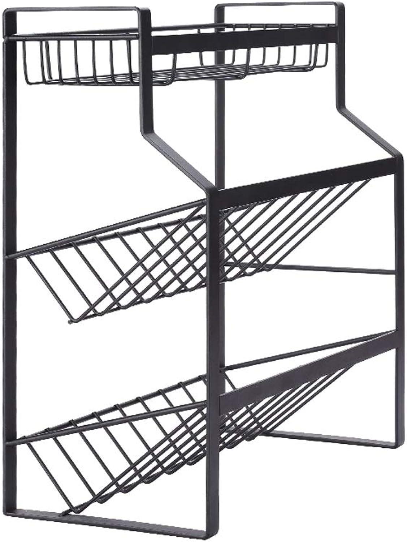 Three-Tier Kitchen Storage Rack Carbon Steel Rack Kitchen Household Seasoning Rack L35×W18×H39CM