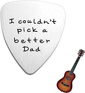 YourGift Dad Gift - I Couldn't Pick a Better Dad Guitar Pick, Custom Gift for Dad Stainless Steel with an Exquisite Velvet Pouch, Birthday Gift for Dad Daddy Papa Father