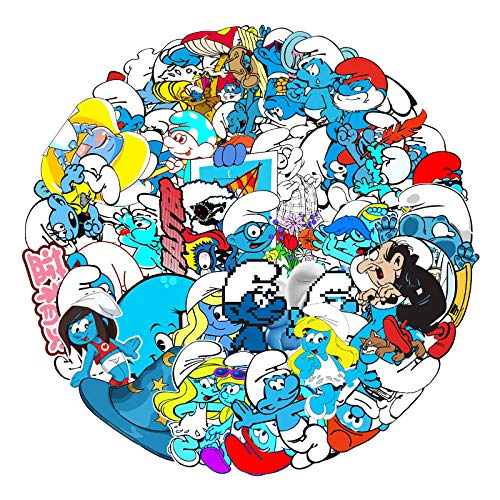 JZLMF 52 Non-Repetitive Smurfs Cartoon Graffiti Stickers Trolley Suitcase Luggage Bike Waterproof Stickers