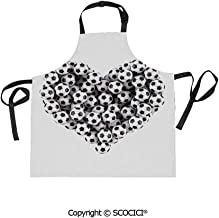 SCOCICI Men Woman Kitchen Printed Apron with Adjustable Neck 2 Side Pockets,Heart from The Footballs Love for Sports Game Entertainment,for Cooking Baking Gardening