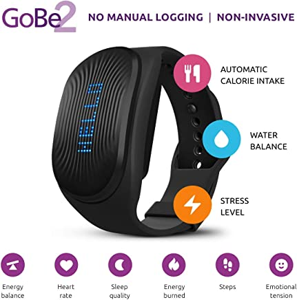 Fitness tracker GoBe2 by Healbe, wearable calorie intake tracker, sleep, hydration, heart rate and stress monitor for wellness. iOS and Android App. One and only fitness watch that tracks 8 parameters