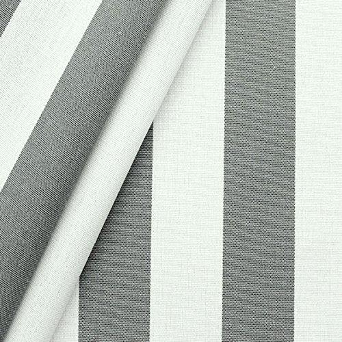 STOFFKONTOR Markisenstoff Outdoorstoff Streifen Breite 160cm Meterware Basalt-Grau Weiss