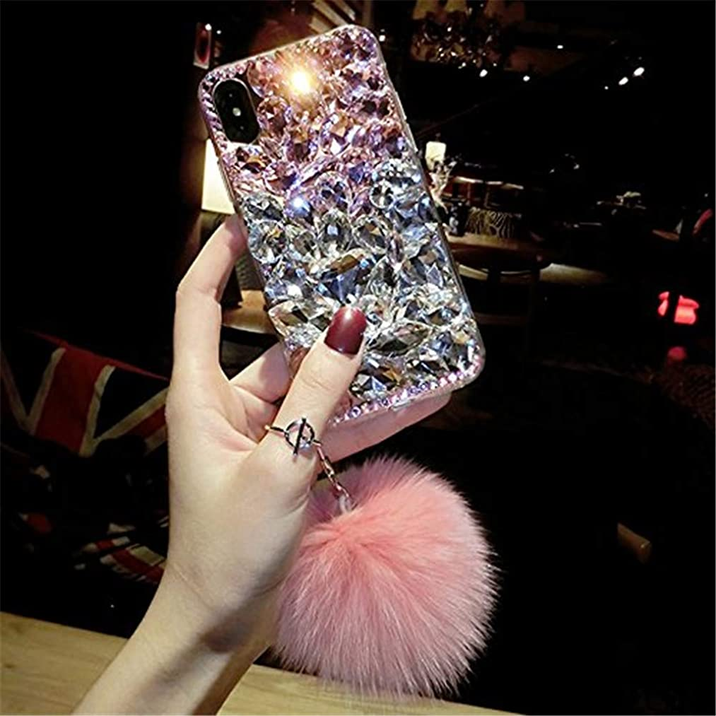 Case for iPhone XR,3D Handmade Luxury Sparkle Stunning Stones Crystal Rhinestone with Fuzzy Furry Plush Ball Diamond Case for Apple iPhone XR 6.1