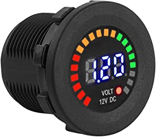 Akozon Volt/ímetro 12 V Motocicleta Coche LED Pantalla digital Volt/ímetro Impermeable Voltaje Volt Meter Negro