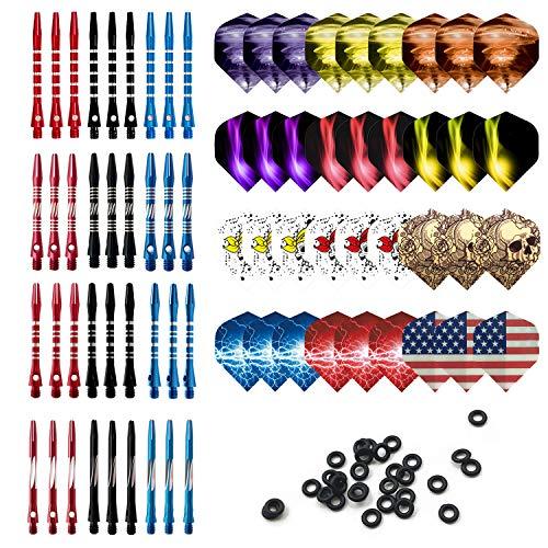 Genriq 36 Pcs Aluminum Medium Dart Shafts, Metal Dart Stems Dart Flights Assorted Dart Accessories Kit 2BA Thread Throwing Fitting with O'ring