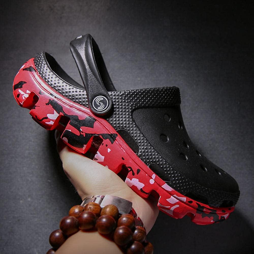 Kirin-1 Womans Flip Flops,Summer Men's Extra Large Size Plus Plus Fertilizer Non-Slip Beach Cave Slippers-44_Black Red