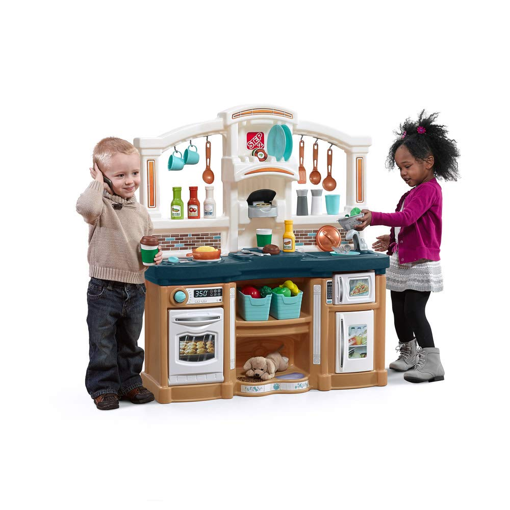 Step2 Fun with Friends Kitchen | Large Plastic Play Kitchen with Realistic Lights & Sounds | Blue Kids Kitchen Playset & 4...