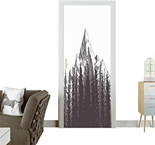 3D Photo Door Murals Mountain with Fir Forest and Native American Arrow Figure Folk Style Retro Print Easy to Clean and applyW38.5 x H77 INCH