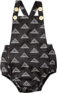 Baby Boys Girl Sleeveless Overall Girls Ruffle Jumpsuit Summer Bodysuit Infant Checked Clothes 0-24Months (Color : Black, ...