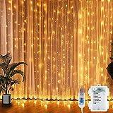 LED Lichtervorhang, 300 LEDs Lichterkettenvorhang 3M*3M USB Lichterkettenvorhang Batteriekasten mit 8 Modi Lichterkette Warmweiß für Partydekoration Weihnacht, Schlafzimmer