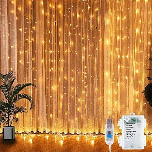 LED Lichtervorhang, 300 LEDs Lichterkettenvorhang 3M*3M USB Lichterkettenvorhang Batteriekasten mit 8 Modi...