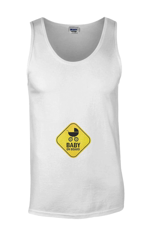 Baby On Board Pregnant Surprise Novelty White Men Vest Tank Top-M