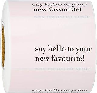 ملصقات WRAPAHOLIC Say Hello to Your New Favorite - ملصقات شكر الأعمال الوردية، ملصقات الشحن - 2 × 3.2 بوصة 350 ملصق