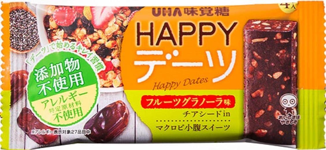 骨髄マニアック事実【まとめ買い】UHA味覚糖 HAPPYデーツ フルーツグラノーラ味 チアシード入 マクロビ小腹スイーツ 4本入×10個