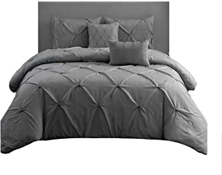 Wonder Home 5 Piece Pinch Pleat Pintuck Comforter Set Grey, Oversized, OEKO-TEX Certified, Triple Needle Luxury Pintuck Bedding Set, Queen, 92