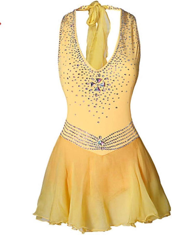 Heart&M Gelbes Eiskunstlaufkleid für Mdchen und Frauen, rmelloses Eislauf-Wettkampfkostüm, Eistanz-Performance-Trikots, Skating-Neckholder-Outfit mit hochwertigen Kristallen