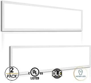 2 Pack UL LED Panel Light 1x4 FT 40W 5000K 4400 Lumens Dimmable 0-10v 100-277v White Frame No Flickering DLC-Qualified