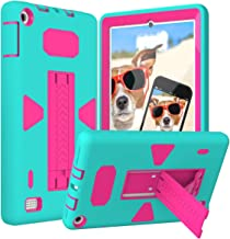 Fire 7 2017 Case, NOKEA Heavy Duty Hybrid Protective Case [Kickstand Feature] Shock-Absorption [Corner Protection] Defender Case Fit For Kindle Fire 7 Inch 2017 Tablet (Mint Rose)