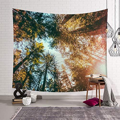 Tapiz de bosque psicodélico para colgar en la pared, manta de cielo estrellado, decoración de casa de campo, tapiz de ventana, cabecera, decoración de la pared del hogar, tapiz de tela A7 130x150cm